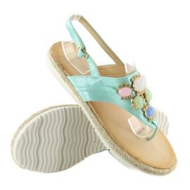 Sandałki z kamieniami miętowe 3072 mint niebieskie 4