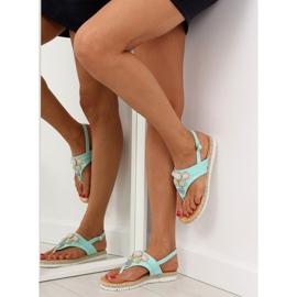 Sandałki z kamieniami miętowe 3072 mint niebieskie 5