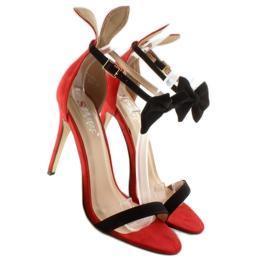 Sandałki na szpilce z uszkami ZJ-15P Red czerwone 3