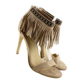 Sandałki z frędzlami etniczny wzór GD-16-5247 Beige beżowy 3