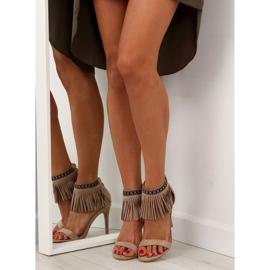 Sandałki z frędzlami etniczny wzór GD-16-5247 Beige beżowy 6