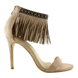 Sandałki z frędzlami etniczny wzór GD-16-5247 Beige beżowy 1