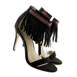 Sandałki z frędzlami etniczny wzór GD-16-5247 Black czarne 5