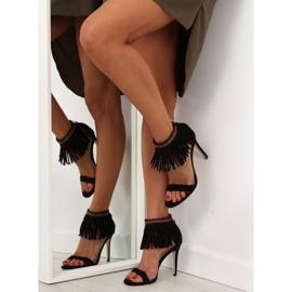 Sandałki z frędzlami etniczny wzór GD-16-5247 Black czarne 3