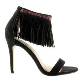 Sandałki z frędzlami etniczny wzór GD-16-5247 Black czarne 4