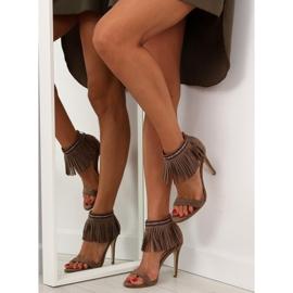 Sandałki z frędzlami etniczny wzór GD-16-52 brązowe 5