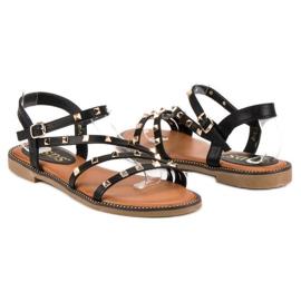 SDS Płaskie sandały z ćwiekami czarne 4