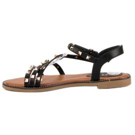 SDS Płaskie sandały z ćwiekami czarne 1