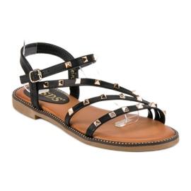 SDS Płaskie sandały z ćwiekami czarne 2