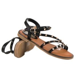 SDS Płaskie sandały z ćwiekami czarne 3