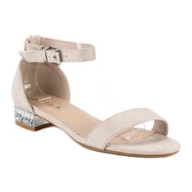 Nio Nio Eleganckie zamszowe sandały brązowe 4