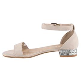 Nio Nio Eleganckie zamszowe sandały brązowe 5