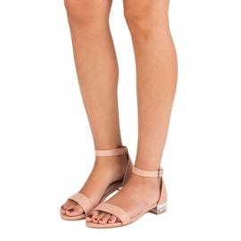 Nio Nio Eleganckie zamszowe sandały różowe 5