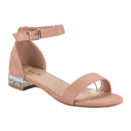 Nio Nio Eleganckie zamszowe sandały różowe 1