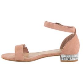 Nio Nio Eleganckie zamszowe sandały różowe 2