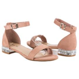 Nio Nio Eleganckie zamszowe sandały różowe 3