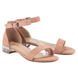 Nio Nio Eleganckie zamszowe sandały różowe 4