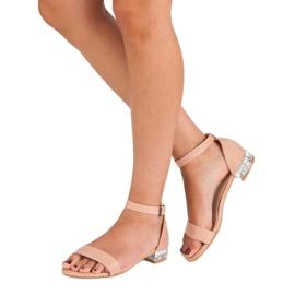 Nio Nio Eleganckie zamszowe sandały różowe 6