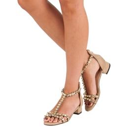 Beżowe sandały na suwak vices beżowy 3
