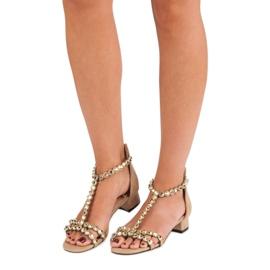 Beżowe sandały na suwak vices beżowy 2