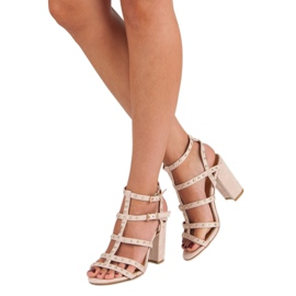 Bestelle Pudrowe sandały na słupku różowe 1