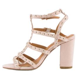 Bestelle Pudrowe sandały na słupku różowe 4