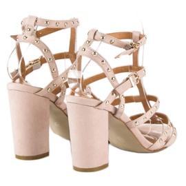 Bestelle Pudrowe sandały na słupku różowe 5