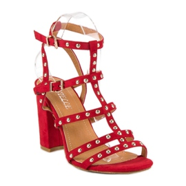 Bestelle Czerwone sandały na słupku 4