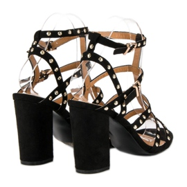 Bestelle Czarne sandały na słupku 6