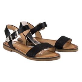 Nio Nio Wygodne sandały płaskie czarne 1