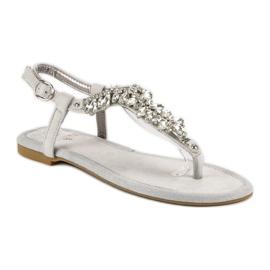 Eleganckie płaskie sandały vices szare 2