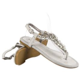 Eleganckie płaskie sandały vices szare 1