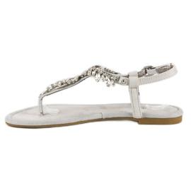 Eleganckie płaskie sandały vices szare 3