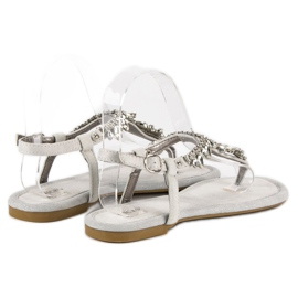 Eleganckie płaskie sandały vices szare 4