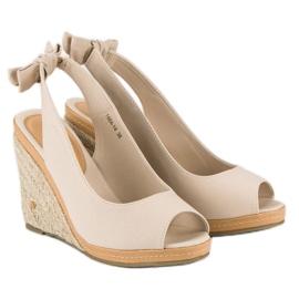 Beżowe sandały espadryle beżowy 1