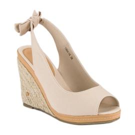 Beżowe sandały espadryle beżowy 4