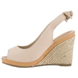 Beżowe sandały espadryle beżowy 6