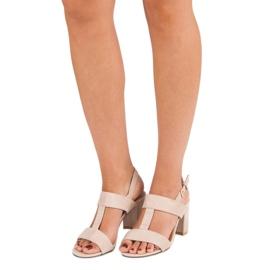 SDS Różowe sandały na słupku 1
