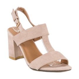 SDS Różowe sandały na słupku 3