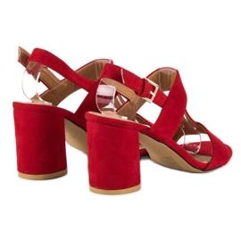 SDS Czerwone sandały na słupku 6