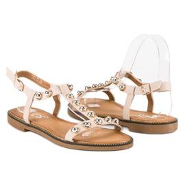 SDS Beżowe Sandały Na Sprzączkę beżowy 1