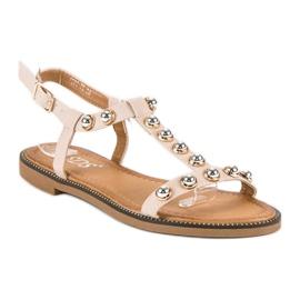 SDS Beżowe Sandały Na Sprzączkę beżowy 2