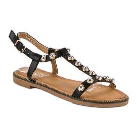 SDS Czarne Sandały Na Sprzączkę 2