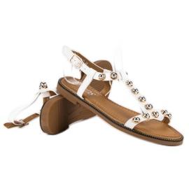 SDS Białe Sandały Na Sprzączkę 1