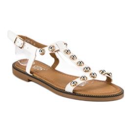 SDS Białe Sandały Na Sprzączkę 2