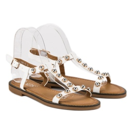 SDS Białe Sandały Na Sprzączkę 4