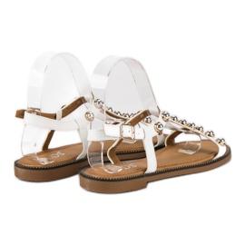 SDS Białe Sandały Na Sprzączkę 5