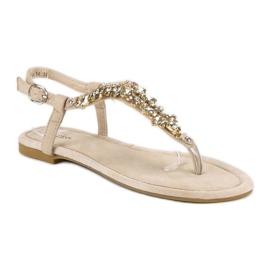 Eleganckie płaskie sandały vices brązowe 1