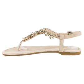 Eleganckie płaskie sandały vices brązowe 2