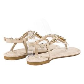 Eleganckie płaskie sandały vices brązowe 3